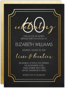 Timeless Faux Gold 60th Birthday Invitation