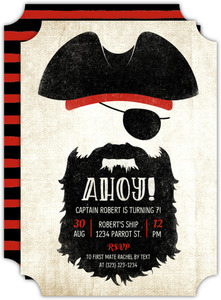 Ahoy Pirate Kids Birthday Invitation