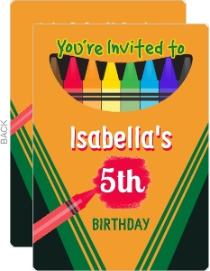 Crayon Box Birthday Party Invitation