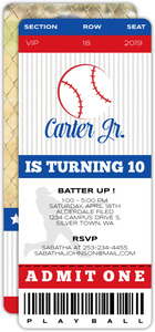 VIP Baseball Ticket Birthday Party Invitation