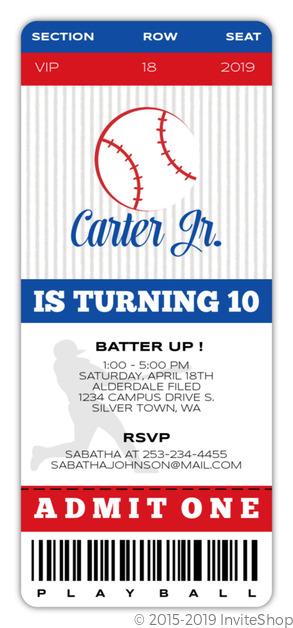 VIP Baseball Ticket Birthday Party Invitation