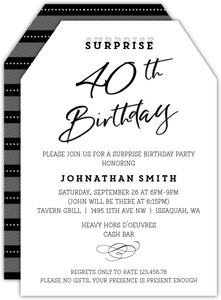 Classic Tag Surprise 40th Birthday Invitation