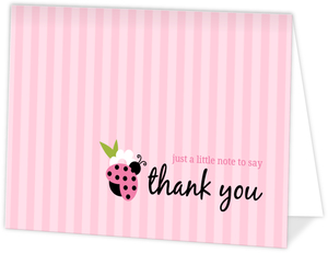 Pink Green Lady Bug Girl Baby Shower Thank You Card