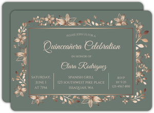 Copper Floral Frame Quinceanera Invitation