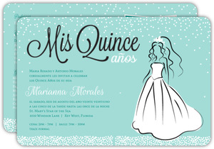 White Dress Princess Quinceanera Invitation