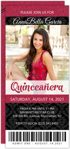 Faux Pink Glitter Black Quinceanera Ticket Invitation