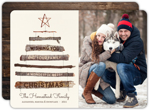 Rustic Wooden Tree Christmas Photo Card