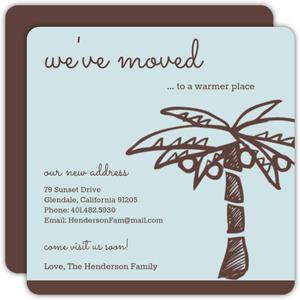 Brown and Blue Sunny Palm  Moving Announcement