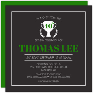 Tournament Trophy Golf Birthday Party Invitation