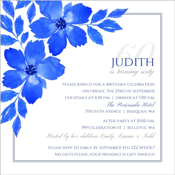 Elegant blue floral watercolor 60th birthday invitation adult elegant blue floral watercolor 60th birthday invitation filmwisefo Choice Image