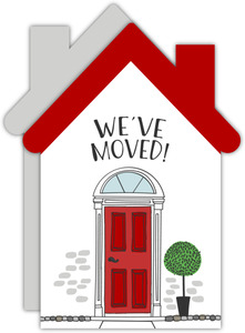 Cute Red Door House Moving Announcement