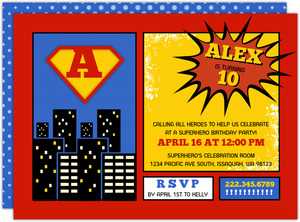 Superheroes City Comics Birthday Invitation