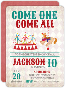 Rustic Come One Come All Birthday Party Invitation