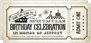 Vintage Carnival Ticket Birthday Party Invitation