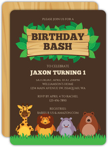 Cute Jungle Animals Kids Birthday Invitation