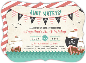 Pink Banners Pirate Birthday Invitation