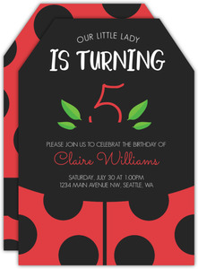 Black & Red Ladybug Birthday Invitation