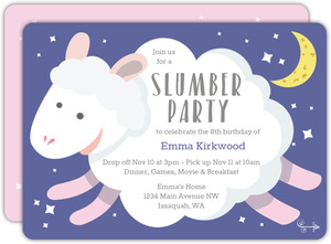 Night Sheep Slumber Party Birthday Invitation