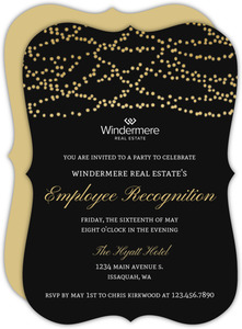 Gold Dangling Lights Business Party Invitation