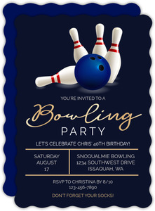 Fancy Bowling Party Birthday Invitation