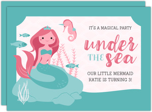Mermaid Princess Under the Sea Birthday Invitation