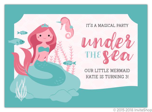 Mermaid Princess Under The Sea Birthday Invitation