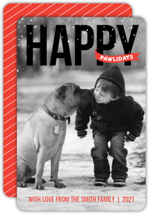 Modern Happy Pawlidays Holiday Photo Card