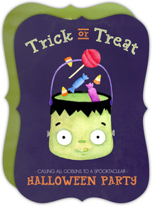 Trick or Treat Watercolor Halloween Birthday Party Invitation