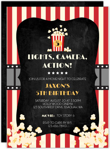 Lights Camera Action Movie Night Invitation