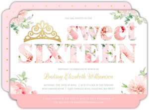 Delicate Pink flowers & Faux Gold Sweet 16 Invitation