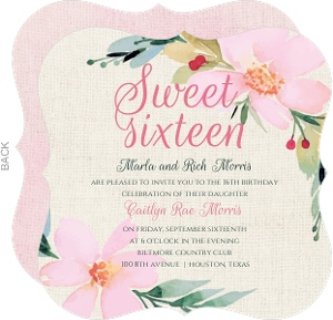 Whimsical Floral Sweet 16th Birthday Invitation