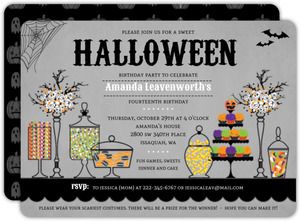 Candy Station Halloween Birthday Party Invitation