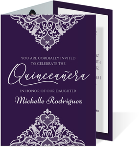 Pointy Lace Trifold Quinceanera Invitation