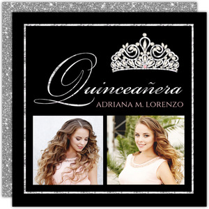 Faux Sparkly Diamond Tiara Quinceanera Invitation