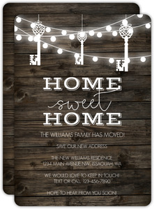 Rustic Hanging Key Lights Moving Announcement
