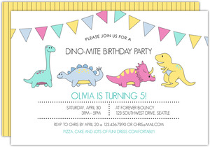Pastel Dinomite Celebration Kids Birthday Invitation