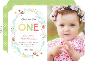 Delicate Floral Frame First Birthday Invitation