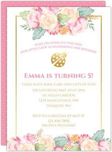 Faux Foil Floral Frame Ladybug Birthday Invitation