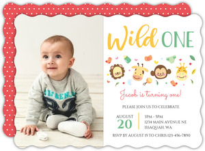 Wild One Baby Animals Kids Birthday Invitation