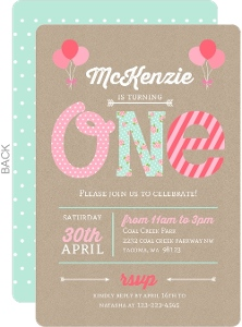 Kraft Pink Mint First Birthday Party Invitation