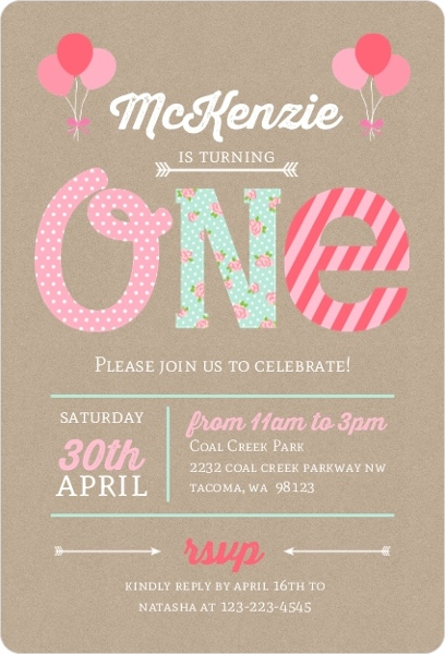 Kraft pink mint first birthday party invitation first birthday sweet baby pink first birthday invitation stopboris