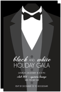 Suit Up! Formal Black Tie Holiday Party Invitation