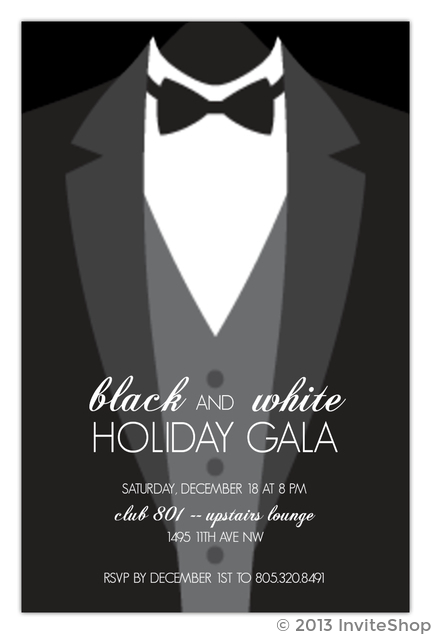 Suit up formal black tie holiday party invitation holiday invitations formal black tie holiday party invitation stopboris Image collections