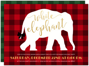 Plaid Pattern White Elephant Holiday Party Invitation