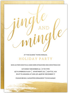 Faux Gold Jingle and Mingle Holiday Party Invitation