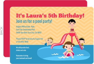 Blue and White Splash Pool Party invitation