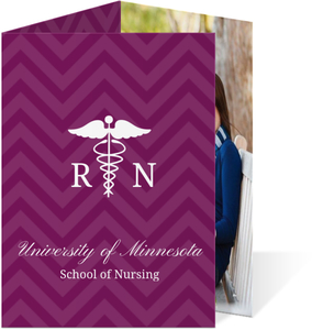 Purple RN Graduation Thank You Card