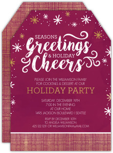 Faux Gold Foil Seasons Greetings Holiday Party Invitation