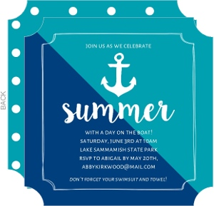 Turquoise Anchor Summer Party Invitation