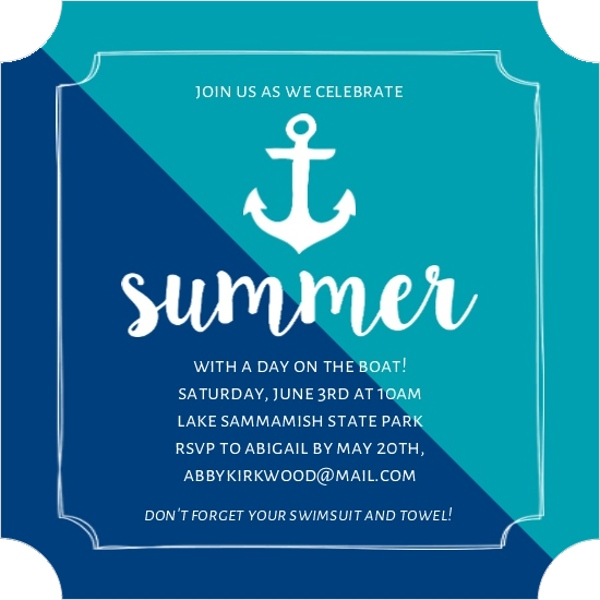 turquoise anchor summer party invitation end of summer party